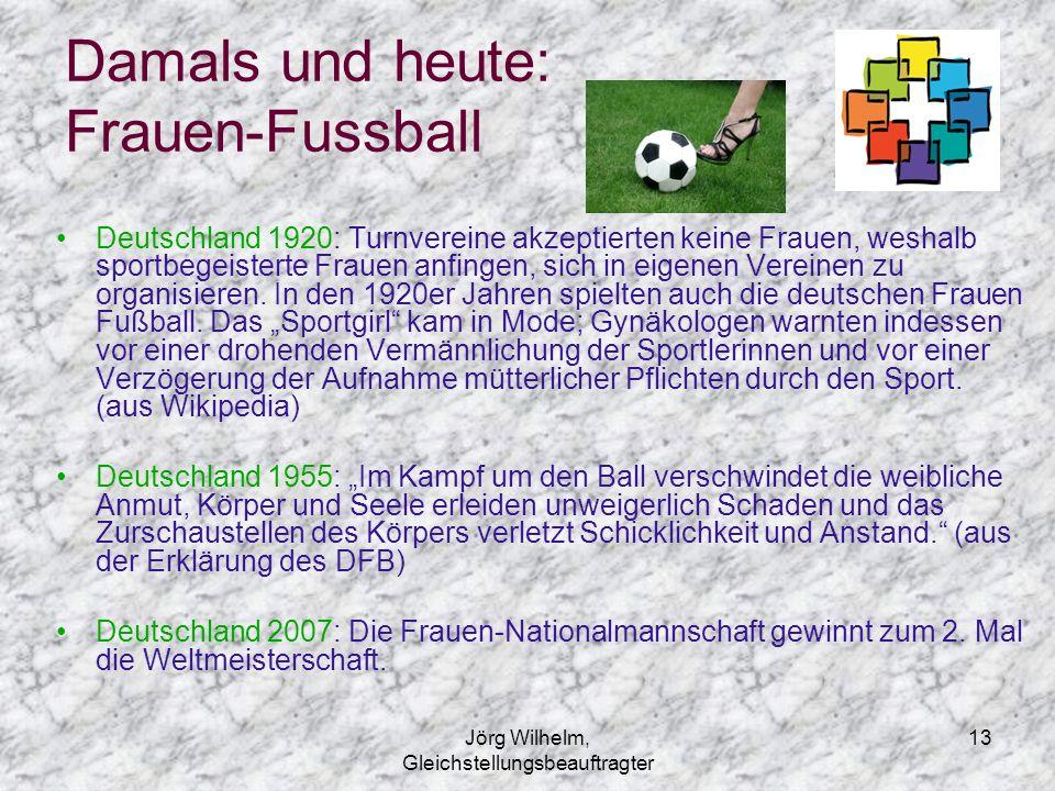 Jörg Wilhelm, Gleichstellungsbeauftragter 13 Damals und heute: Frauen-Fussball Deutschland 1920: Turnvereine akzeptierten keine Frauen, weshalb sportb