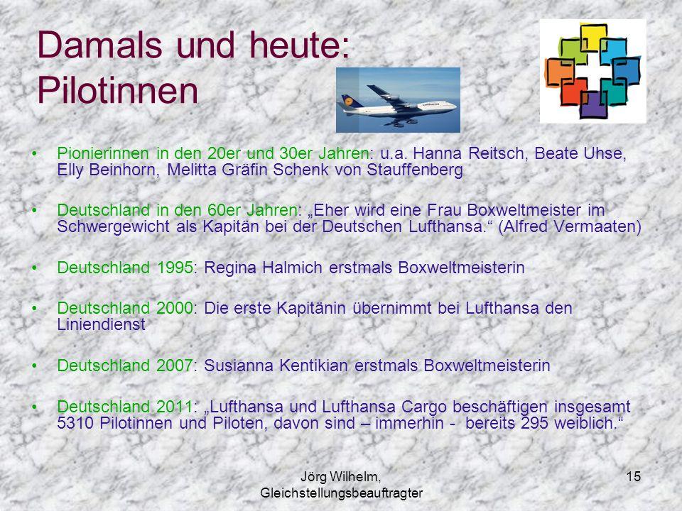 Jörg Wilhelm, Gleichstellungsbeauftragter 15 Damals und heute: Pilotinnen Pionierinnen in den 20er und 30er Jahren: u.a. Hanna Reitsch, Beate Uhse, El