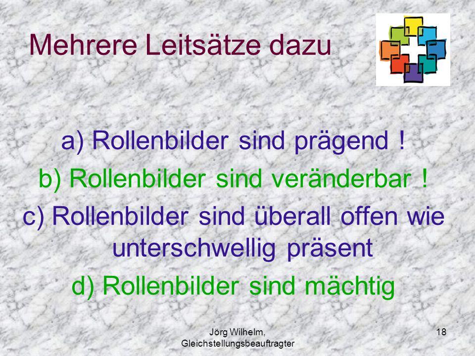 Jörg Wilhelm, Gleichstellungsbeauftragter 18 Mehrere Leitsätze dazu a) Rollenbilder sind prägend ! b) Rollenbilder sind veränderbar ! c) Rollenbilder