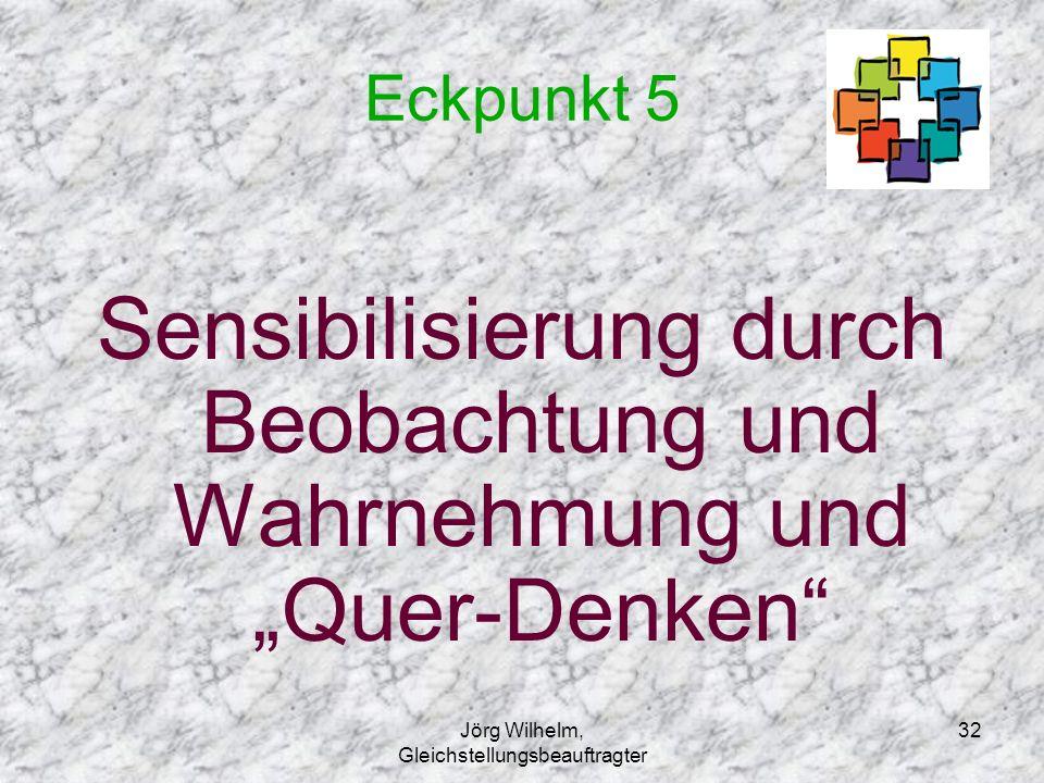 """Jörg Wilhelm, Gleichstellungsbeauftragter 32 Eckpunkt 5 Sensibilisierung durch Beobachtung und Wahrnehmung und """"Quer-Denken"""""""