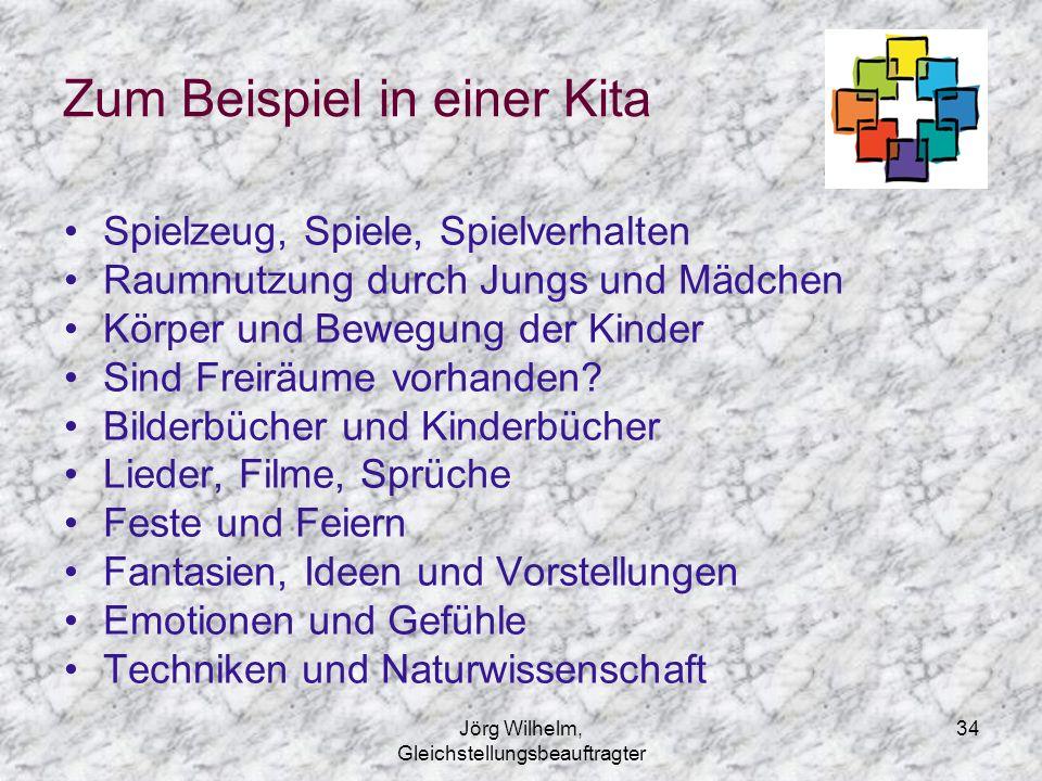 Jörg Wilhelm, Gleichstellungsbeauftragter 34 Zum Beispiel in einer Kita Spielzeug, Spiele, Spielverhalten Raumnutzung durch Jungs und Mädchen Körper u