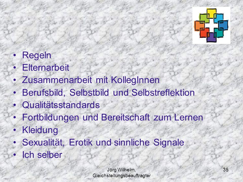 Jörg Wilhelm, Gleichstellungsbeauftragter 35 Regeln Elternarbeit Zusammenarbeit mit KollegInnen Berufsbild, Selbstbild und Selbstreflektion Qualitätss