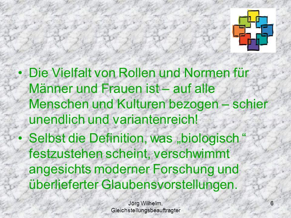 Jörg Wilhelm, Gleichstellungsbeauftragter 6 Die Vielfalt von Rollen und Normen für Männer und Frauen ist – auf alle Menschen und Kulturen bezogen – sc