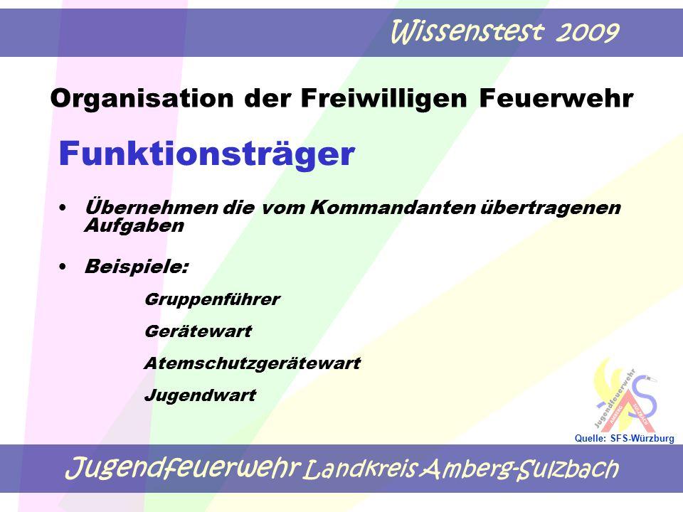 Jugendfeuerwehr Landkreis Amberg-Sulzbach Wissenstest 2009 Quelle: SFS-Würzburg Funktionsträger Übernehmen die vom Kommandanten übertragenen Aufgaben