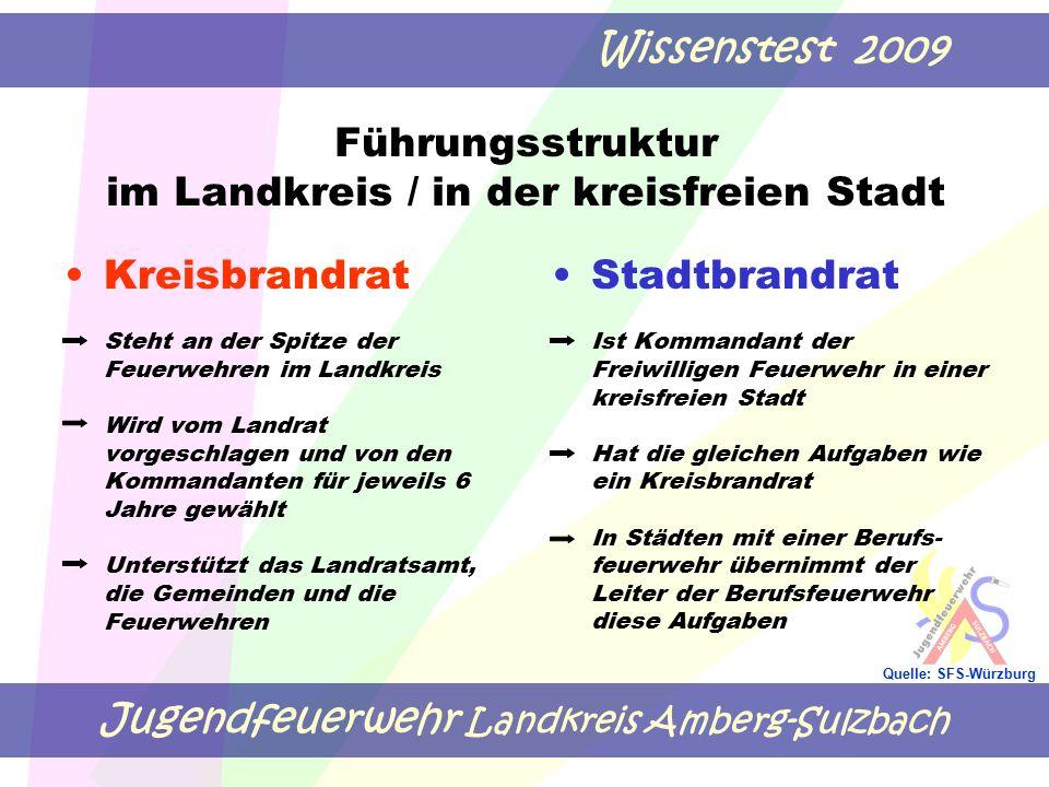 Jugendfeuerwehr Landkreis Amberg-Sulzbach Wissenstest 2009 Quelle: SFS-Würzburg Führungsstruktur im Landkreis / in der kreisfreien Stadt Kreisbrandrat