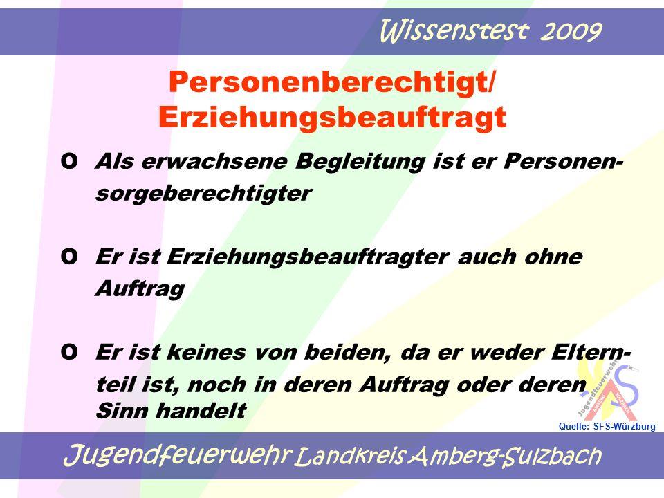 Jugendfeuerwehr Landkreis Amberg-Sulzbach Wissenstest 2009 Quelle: SFS-Würzburg OAls erwachsene Begleitung ist er Personen- sorgeberechtigter O Er ist