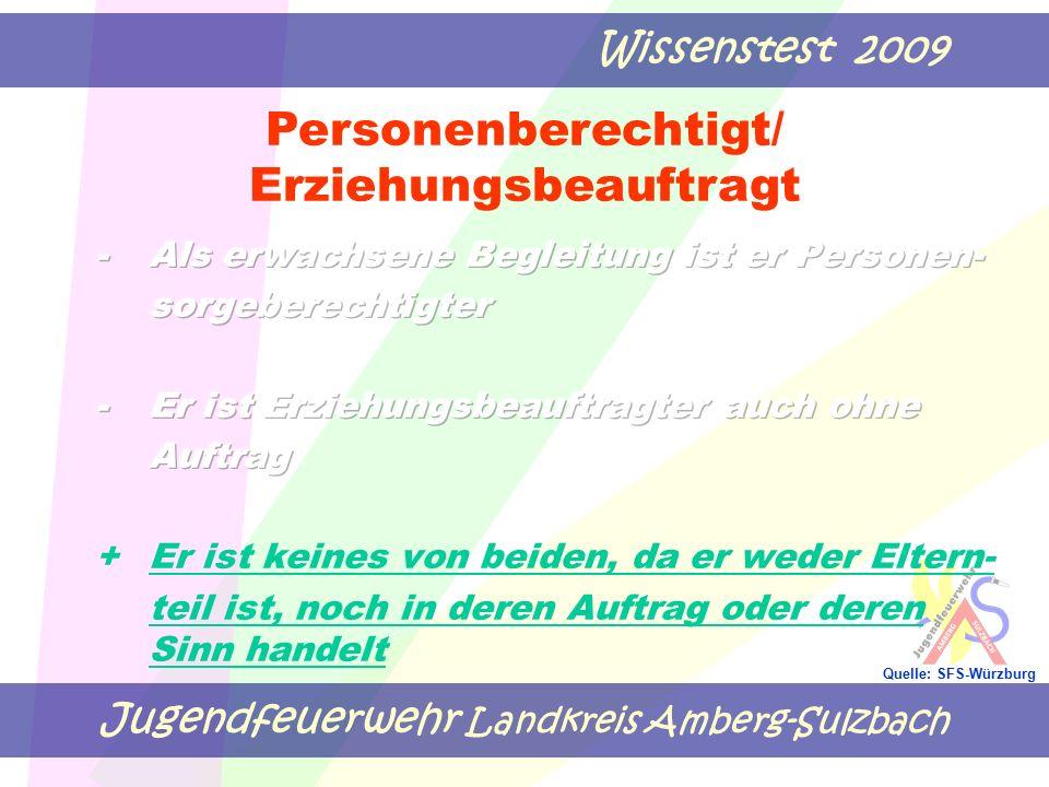 Jugendfeuerwehr Landkreis Amberg-Sulzbach Wissenstest 2009 Quelle: SFS-Würzburg Personenberechtigt/ Erziehungsbeauftragt