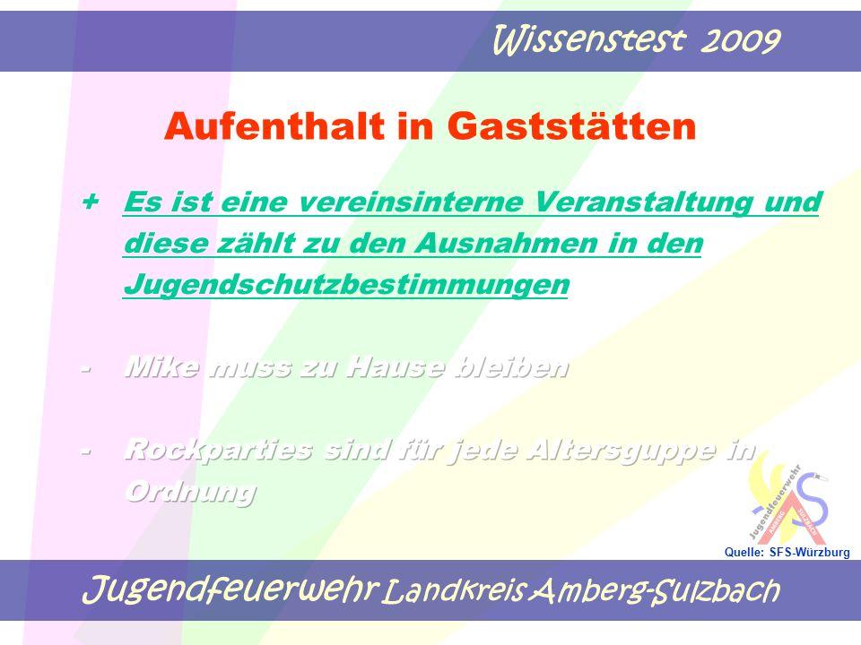 Jugendfeuerwehr Landkreis Amberg-Sulzbach Wissenstest 2009 Quelle: SFS-Würzburg Aufenthalt in Gaststätten