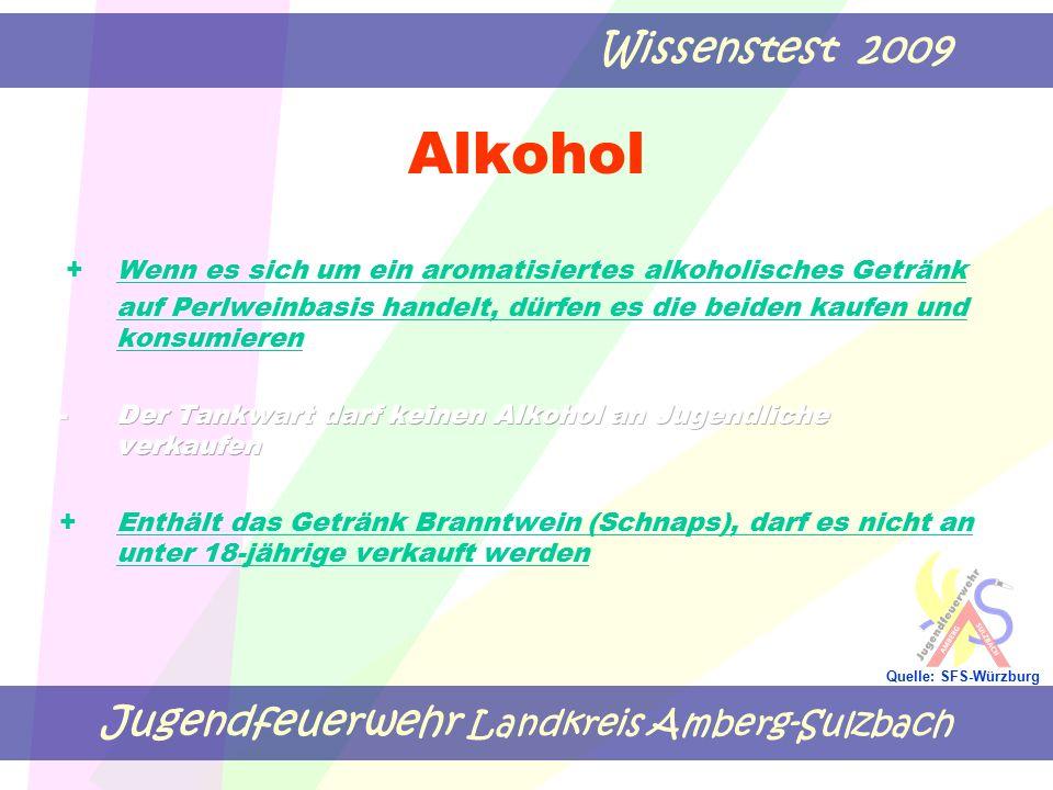 Jugendfeuerwehr Landkreis Amberg-Sulzbach Wissenstest 2009 Quelle: SFS-Würzburg Alkohol