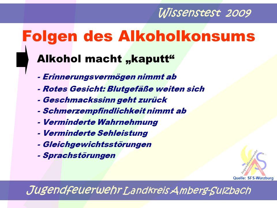 """Jugendfeuerwehr Landkreis Amberg-Sulzbach Wissenstest 2009 Quelle: SFS-Würzburg Folgen des Alkoholkonsums Alkohol macht """"kaputt - Erinnerungsvermögen nimmt ab - Rotes Gesicht: Blutgefäße weiten sich - Geschmackssinn geht zurück - Schmerzempfindlichkeit nimmt ab - Verminderte Wahrnehmung - Verminderte Sehleistung - Gleichgewichtsstörungen - Sprachstörungen"""