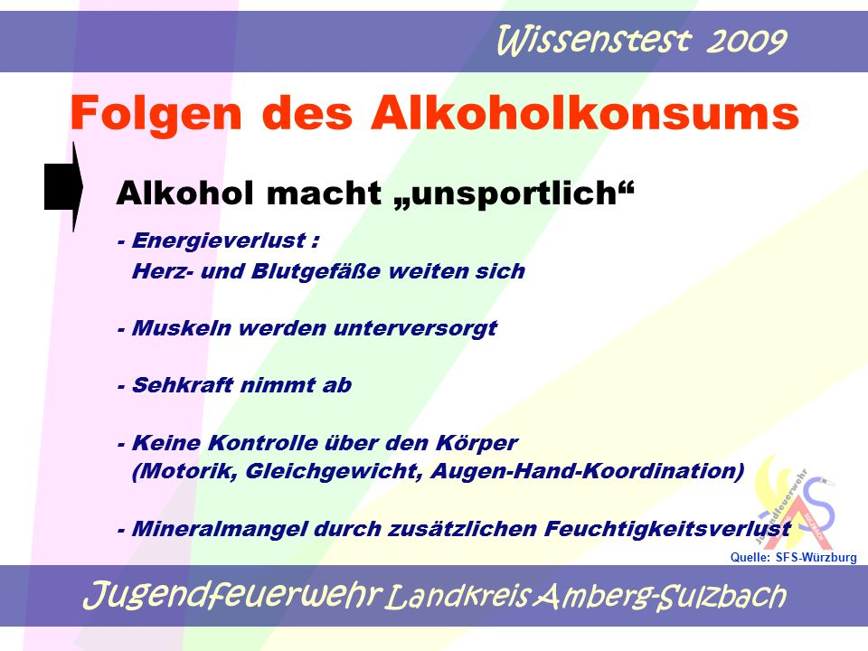 """Jugendfeuerwehr Landkreis Amberg-Sulzbach Wissenstest 2009 Quelle: SFS-Würzburg Folgen des Alkoholkonsums Alkohol macht """"unsportlich"""" - Energieverlust"""