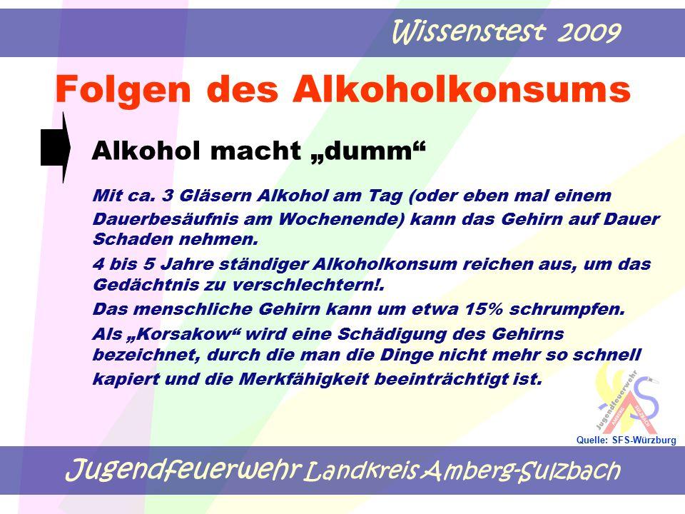 """Jugendfeuerwehr Landkreis Amberg-Sulzbach Wissenstest 2009 Quelle: SFS-Würzburg Folgen des Alkoholkonsums Alkohol macht """"dumm"""" Mit ca. 3 Gläsern Alkoh"""