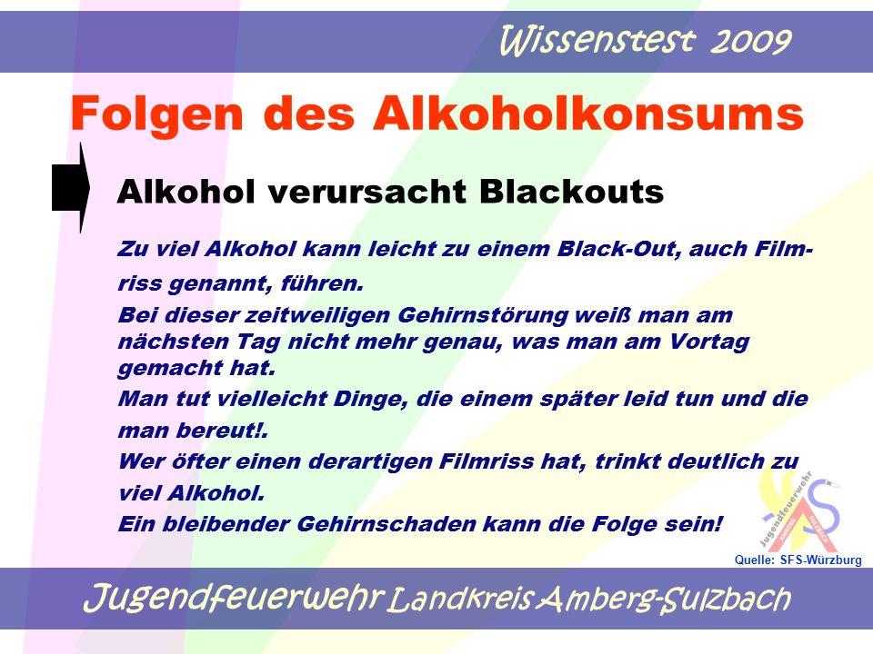 Jugendfeuerwehr Landkreis Amberg-Sulzbach Wissenstest 2009 Quelle: SFS-Würzburg Folgen des Alkoholkonsums Alkohol verursacht Blackouts Zu viel Alkohol kann leicht zu einem Black-Out, auch Film- riss genannt, führen.