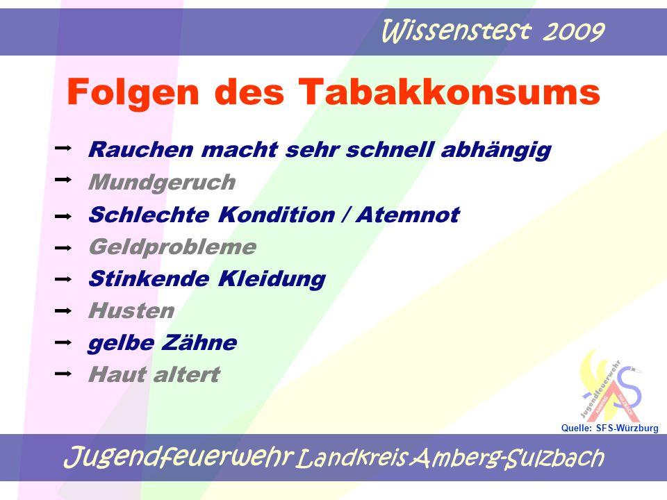 Jugendfeuerwehr Landkreis Amberg-Sulzbach Wissenstest 2009 Quelle: SFS-Würzburg Folgen des Tabakkonsums Rauchen macht sehr schnell abhängig Mundgeruch