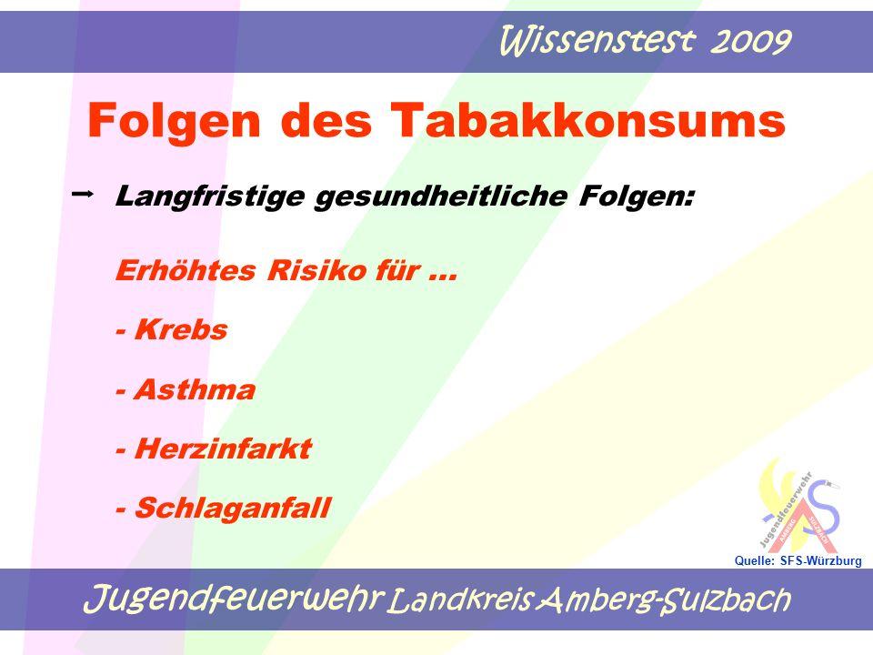 Jugendfeuerwehr Landkreis Amberg-Sulzbach Wissenstest 2009 Quelle: SFS-Würzburg Folgen des Tabakkonsums Langfristige gesundheitliche Folgen: Erhöhtes Risiko für...