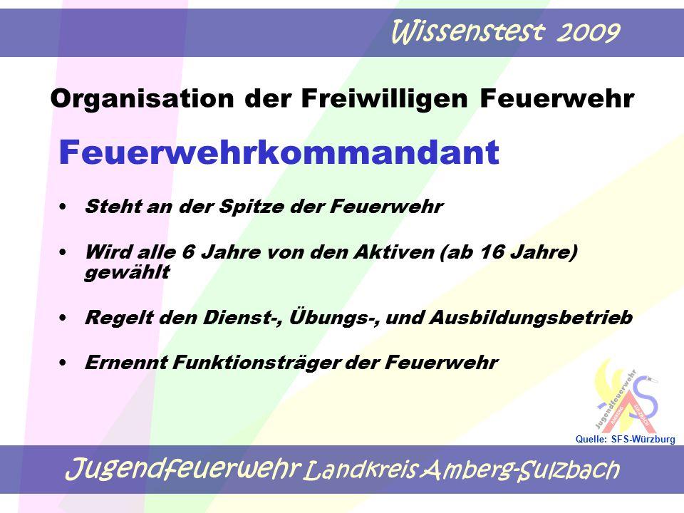 Jugendfeuerwehr Landkreis Amberg-Sulzbach Wissenstest 2009 Quelle: SFS-Würzburg Organisation der Freiwilligen Feuerwehr Feuerwehrkommandant Steht an d