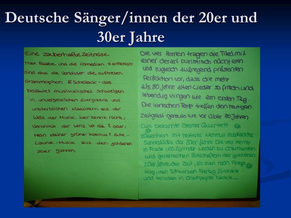 Deutsche Sänger/innen der 20er und 30er Jahre