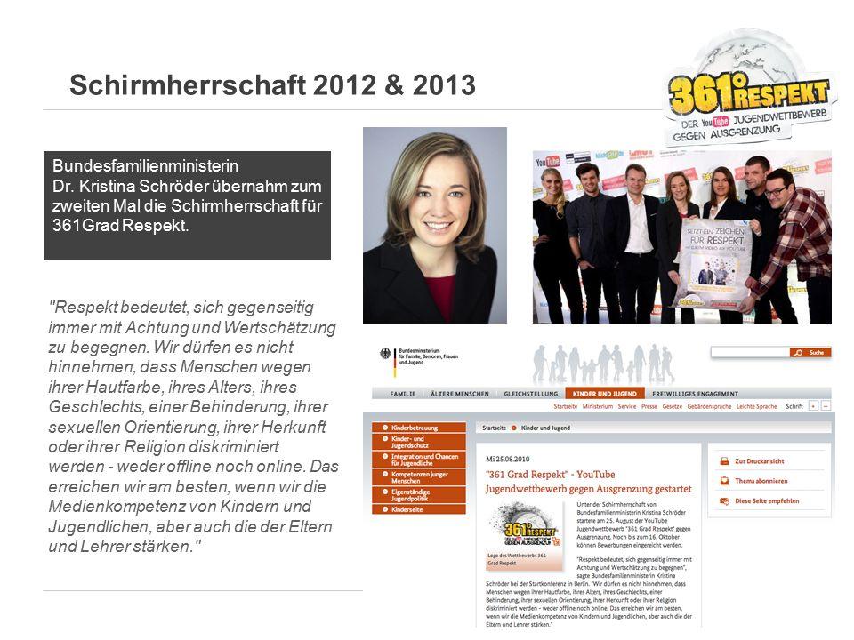 Schirmherrschaft 2012 & 2013 Bundesfamilienministerin Dr. Kristina Schröder übernahm zum zweiten Mal die Schirmherrschaft für 361Grad Respekt.