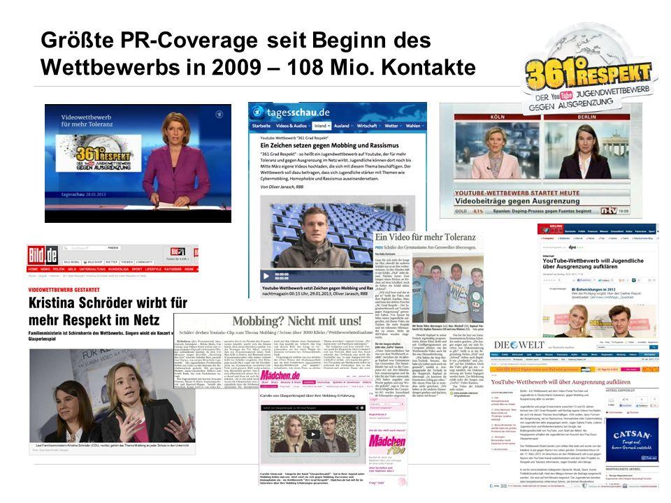 Größte PR-Coverage seit Beginn des Wettbewerbs in 2009 – 108 Mio. Kontakte
