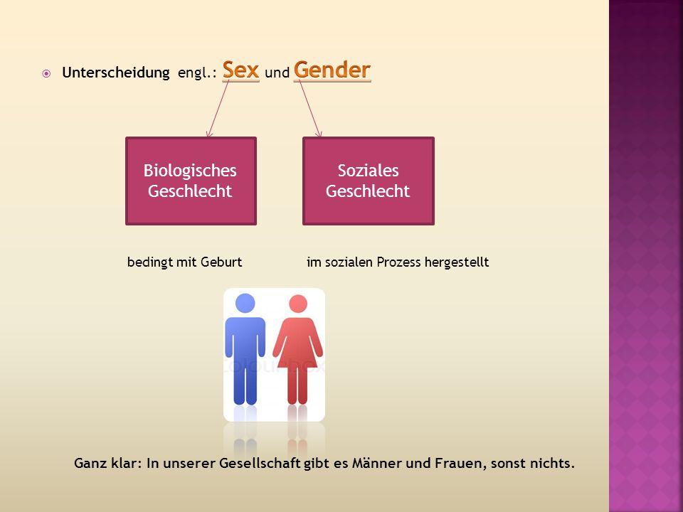 Biologisches Geschlecht Soziales Geschlecht Ganz klar: In unserer Gesellschaft gibt es Männer und Frauen, sonst nichts.