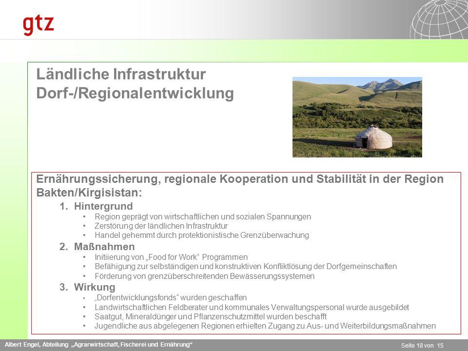 """Albert Engel, Abteilung """"Agrarwirtschaft, Fischerei und Ernährung"""" Seite 18 von 15 Ländliche Infrastruktur Dorf-/Regionalentwicklung Ernährungssicheru"""