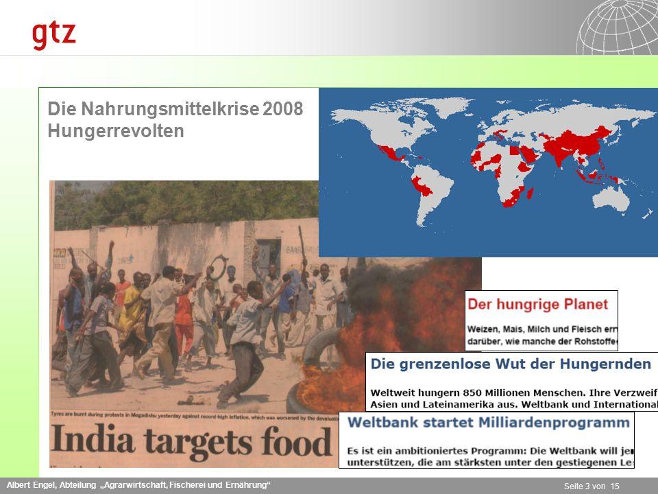 """Albert Engel, Abteilung """"Agrarwirtschaft, Fischerei und Ernährung"""" Seite 3 von 15 Die Nahrungsmittelkrise 2008 Hungerrevolten"""