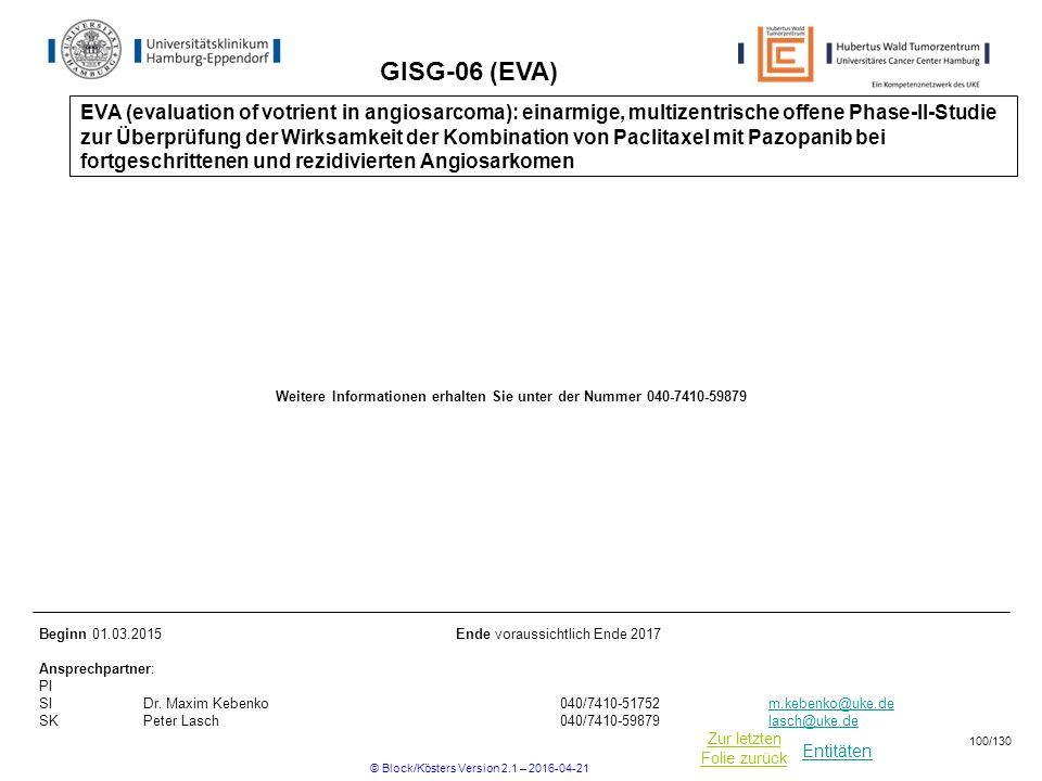 Entitäten Zur letzten Folie zurück GISG-06 (EVA) Beginn 01.03.2015Ende voraussichtlich Ende 2017 Ansprechpartner: PI SIDr.