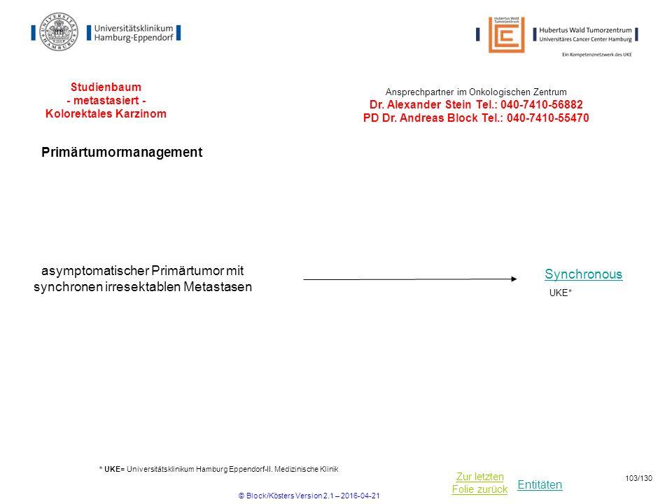 Entitäten Zur letzten Folie zurück Studienbaum - metastasiert - Kolorektales Karzinom * UKE= Universitätsklinikum Hamburg Eppendorf-II. Medizinische K