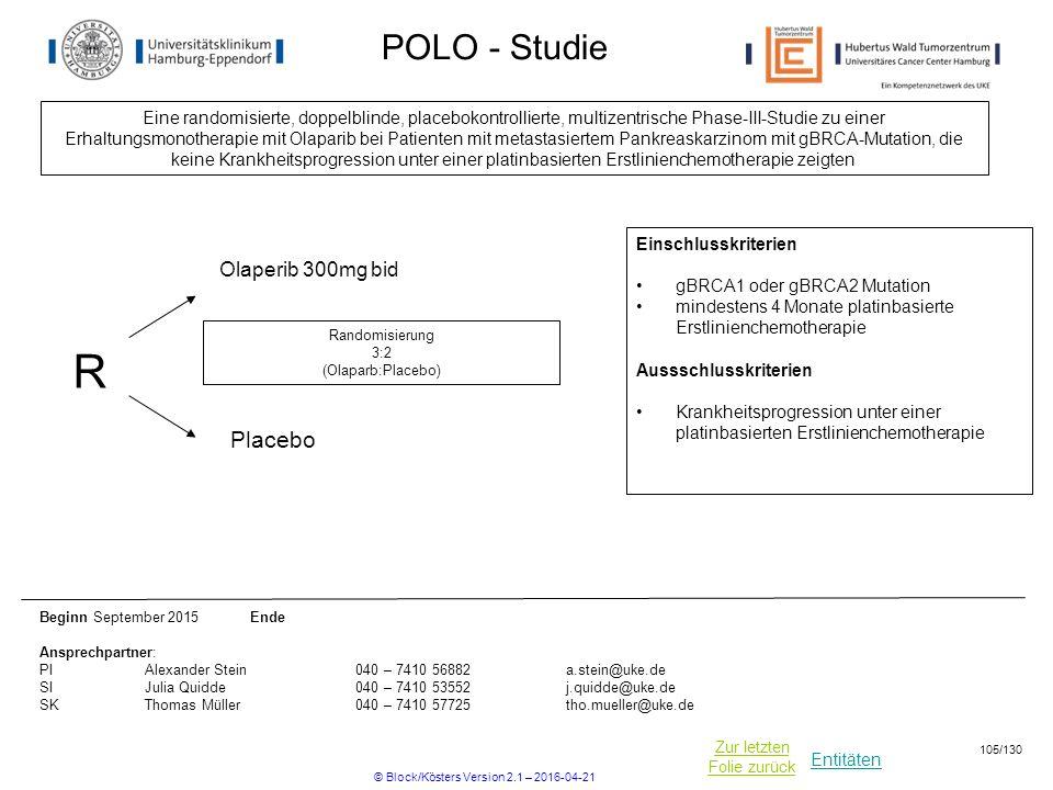 Entitäten Zur letzten Folie zurück POLO - Studie Eine randomisierte, doppelblinde, placebokontrollierte, multizentrische Phase-III-Studie zu einer Erhaltungsmonotherapie mit Olaparib bei Patienten mit metastasiertem Pankreaskarzinom mit gBRCA-Mutation, die keine Krankheitsprogression unter einer platinbasierten Erstlinienchemotherapie zeigten Beginn September 2015 Ende Ansprechpartner: PIAlexander Stein040 – 7410 56882a.stein@uke.de SIJulia Quidde040 – 7410 53552j.quidde@uke.de SKThomas Müller040 – 7410 57725tho.mueller@uke.de R Placebo Randomisierung 3:2 (Olaparb:Placebo) Einschlusskriterien gBRCA1 oder gBRCA2 Mutation mindestens 4 Monate platinbasierte Erstlinienchemotherapie Aussschlusskriterien Krankheitsprogression unter einer platinbasierten Erstlinienchemotherapie Olaperib 300mg bid © Block/Kösters Version 2.1 – 2016-04-21 105/130