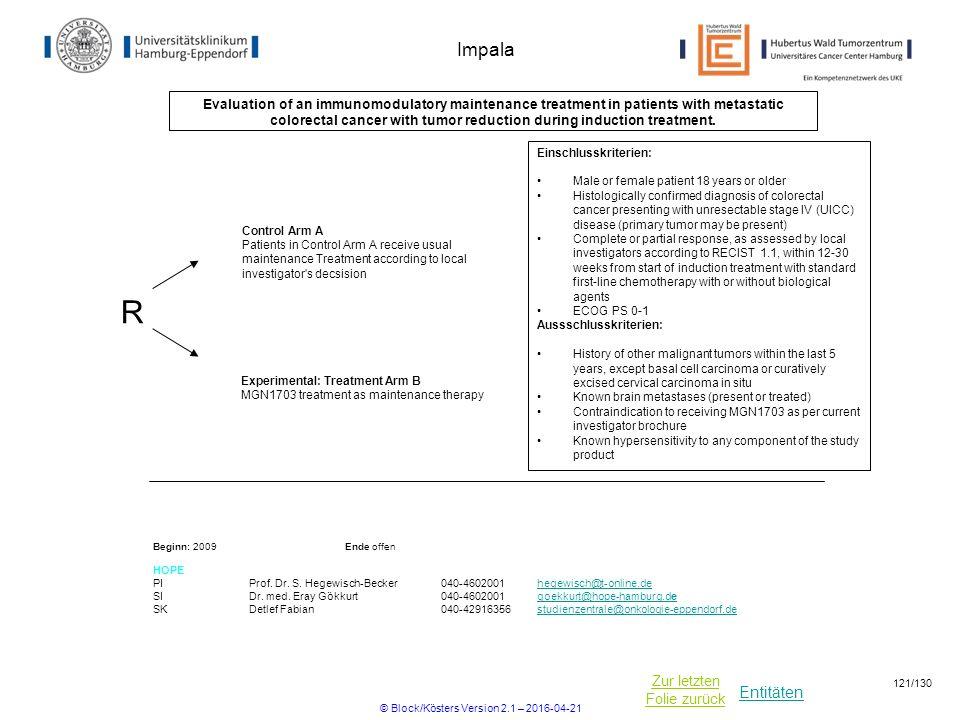 Entitäten Zur letzten Folie zurück Impala Evaluation of an immunomodulatory maintenance treatment in patients with metastatic colorectal cancer with tumor reduction during induction treatment.