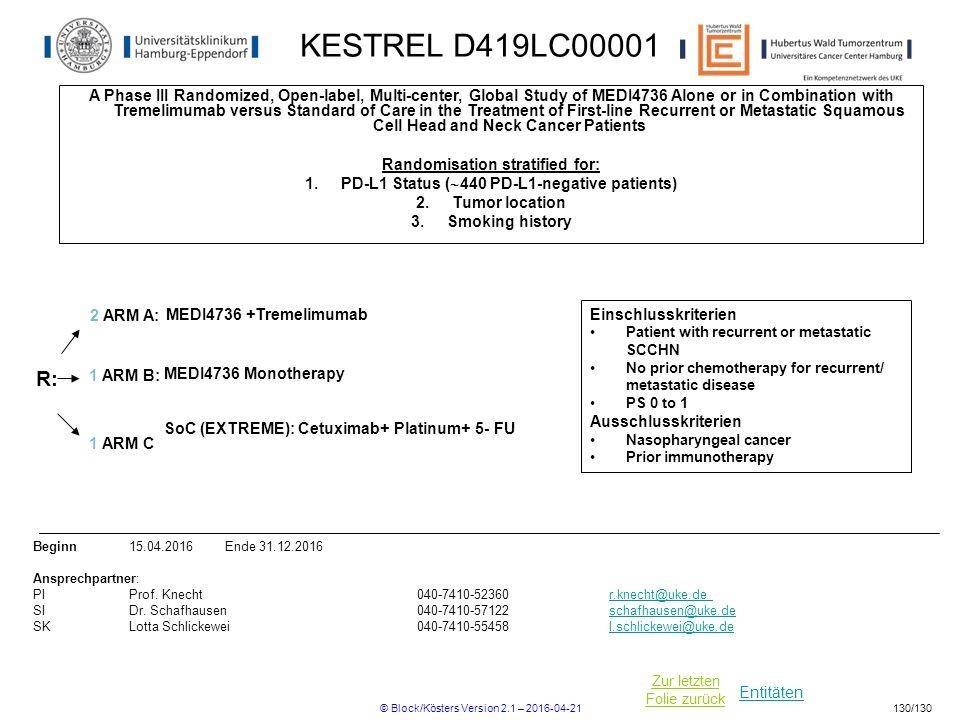 Entitäten Zur letzten Folie zurück KESTREL D419LC00001 A Phase III Randomized, Open-label, Multi-center, Global Study of MEDI4736 Alone or in Combinat