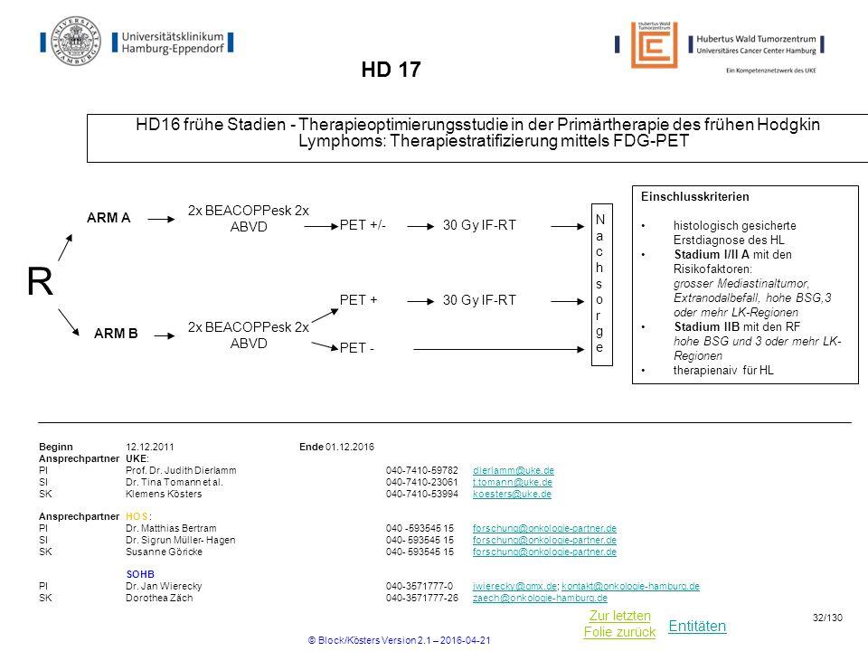 Entitäten Zur letzten Folie zurück HD 17 HD16 frühe Stadien - Therapieoptimierungsstudie in der Primärtherapie des frühen Hodgkin Lymphoms: Therapiestratifizierung mittels FDG-PET Beginn12.12.2011Ende 01.12.2016 Ansprechpartner UKE: PIProf.