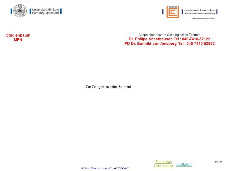 Entitäten Zur letzten Folie zurück Studienbaum MPN Ansprechpartner im Onkologischen Zentrum Dr.