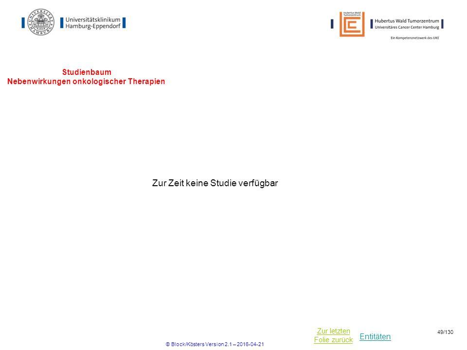 Entitäten Zur letzten Folie zurück Studienbaum Nebenwirkungen onkologischer Therapien Zur Zeit keine Studie verfügbar © Block/Kösters Version 2.1 – 2016-04-21 49/130