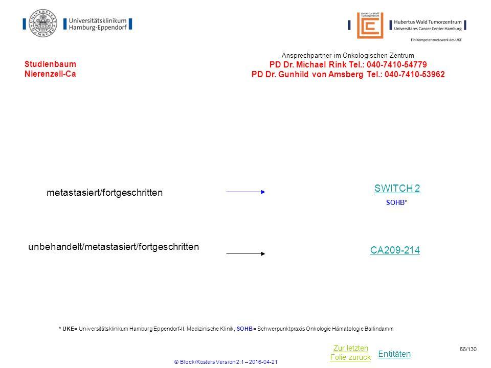 Entitäten Zur letzten Folie zurück Studienbaum Nierenzell-Ca Ansprechpartner im Onkologischen Zentrum PD Dr. Michael Rink Tel.: 040-7410-54779 PD Dr.
