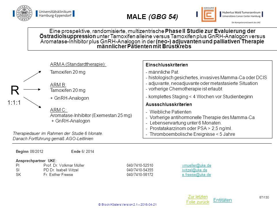 Entitäten Zur letzten Folie zurück MALE (GBG 54) Eine prospektive, randomisierte, multizentrische Phase II Studie zur Evaluierung der Östradiolsuppression unter Tamoxifen alleine versus Tamoxifen plus GnRH-Analogon versus Aromatase-Inhibitor plus GnRH-Analogon in der (neo-) adjuvanten und palliativen Therapie männlicher Patienten mit Brustkrebs R ARM C: Aromatase-Inhibitor (Exemestan 25 mg) + GnRH-Analogon 1:1:1 Einschlusskriterien - männliche Pat.