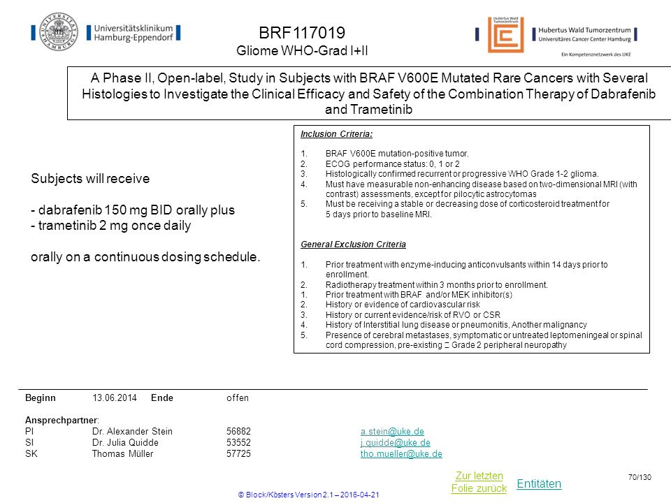 Entitäten Zur letzten Folie zurück BRF117019 Gliome WHO-Grad I+II A Phase II, Open-label, Study in Subjects with BRAF V600E Mutated Rare Cancers with
