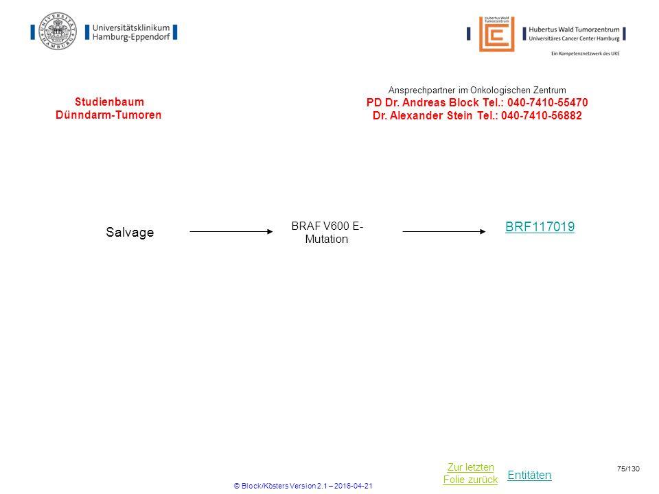 Entitäten Zur letzten Folie zurück Studienbaum Dünndarm-Tumoren BRF117019 Salvage BRAF V600 E- Mutation Ansprechpartner im Onkologischen Zentrum PD Dr.