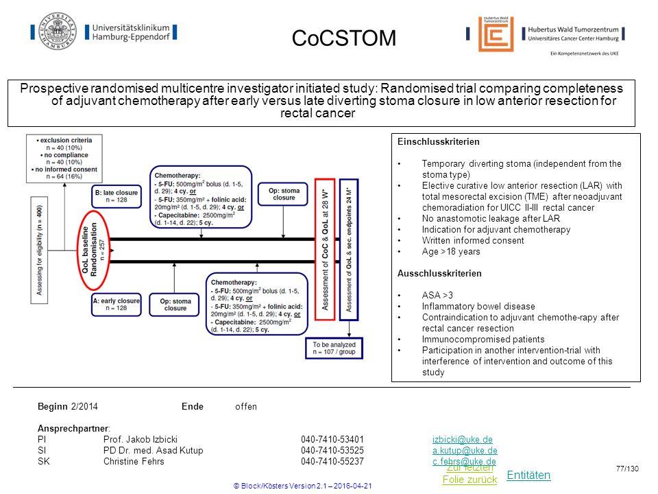 Entitäten Zur letzten Folie zurück CoCSTOM Prospective randomised multicentre investigator initiated study: Randomised trial comparing completeness of