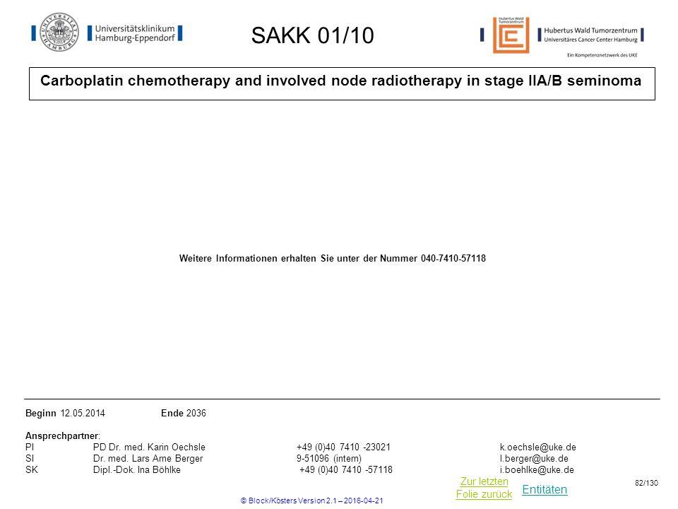 Entitäten Zur letzten Folie zurück SAKK 01/10 Carboplatin chemotherapy and involved node radiotherapy in stage IIA/B seminoma Beginn 12.05.2014 Ende 2036 Ansprechpartner: PIPD Dr.