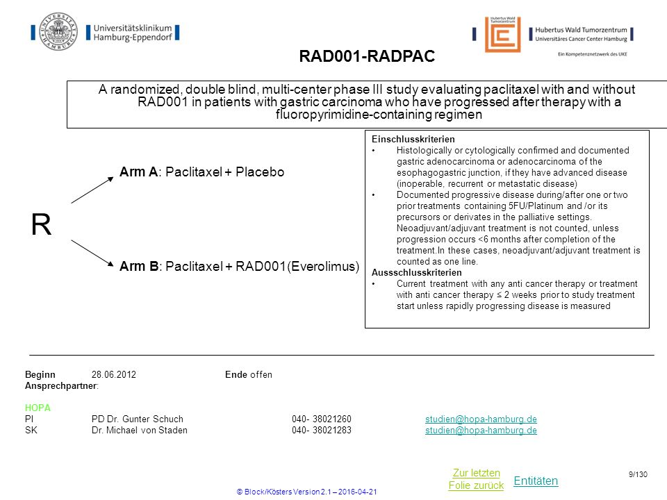 Entitäten Zur letzten Folie zurück RAD001-RADPAC A randomized, double blind, multi-center phase III study evaluating paclitaxel with and without RAD001 in patients with gastric carcinoma who have progressed after therapy with a fluoropyrimidine-containing regimen Beginn28.06.2012Ende offen Ansprechpartner: HOPA PIPD Dr.