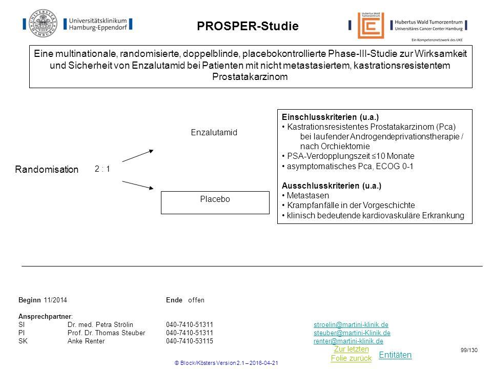 Entitäten Zur letzten Folie zurück PROSPER-Studie Einschlusskriterien (u.a.) Kastrationsresistentes Prostatakarzinom (Pca) bei laufender Androgendepri