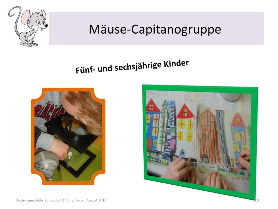 Kindertagesstätte Königsdorf © Burgi Bauer, August 2014 20 Mäuse-Capitanogruppe Fünf- und sechsjährige Kinder