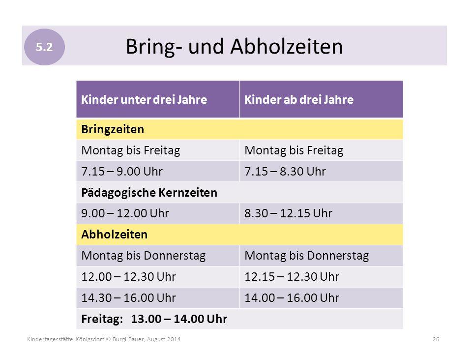 Kindertagesstätte Königsdorf © Burgi Bauer, August 2014 26 Kinder unter drei JahreKinder ab drei Jahre Bringzeiten Montag bis Freitag 7.15 – 9.00 Uhr7