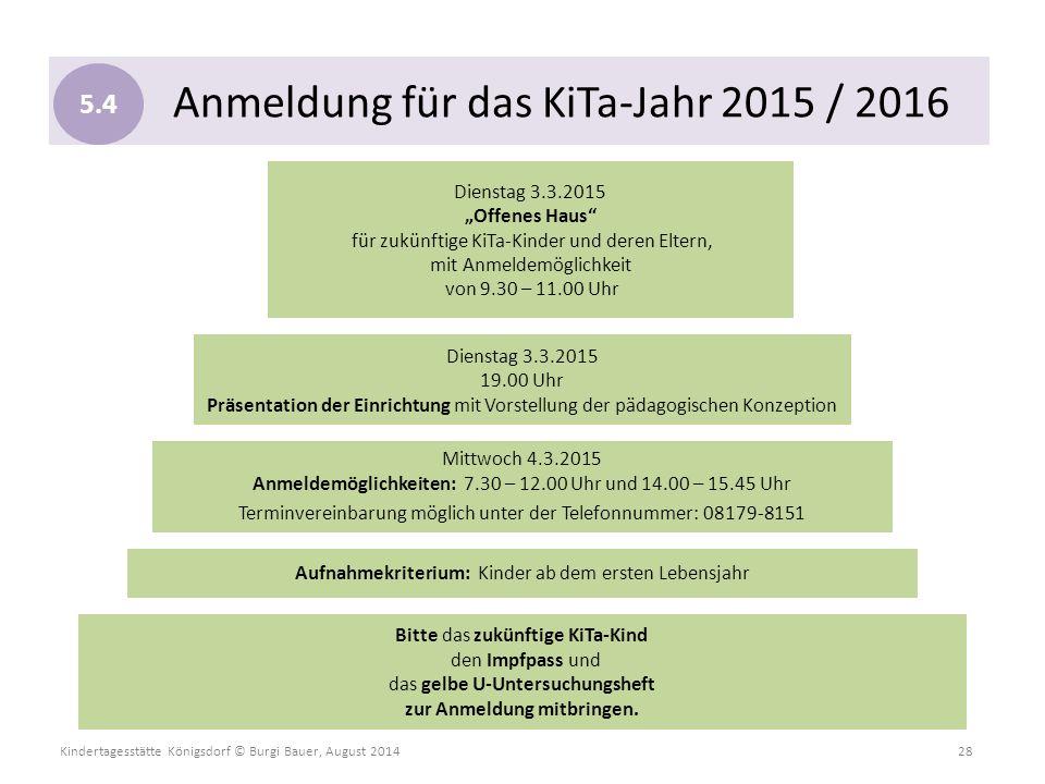 Kindertagesstätte Königsdorf © Burgi Bauer, August 2014 28 Anmeldung für das KiTa-Jahr 2015 / 2016 Bitte das zukünftige KiTa-Kind den Impfpass und das