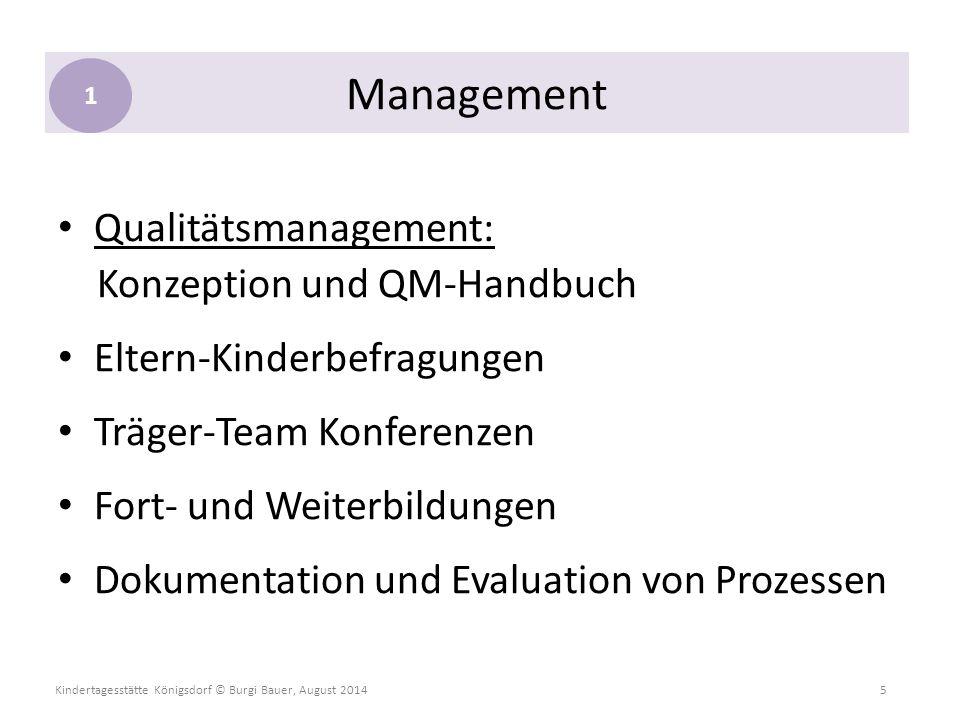 Kindertagesstätte Königsdorf © Burgi Bauer, August 2014 5 Qualitätsmanagement: Konzeption und QM-Handbuch Eltern-Kinderbefragungen Träger-Team Konfere
