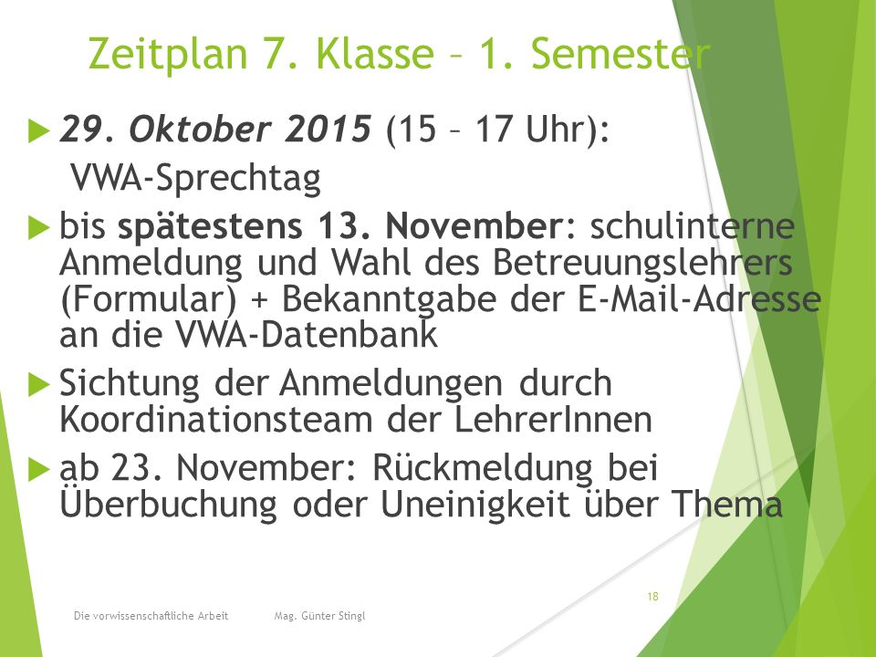 Zeitplan 7. Klasse – 1. Semester  29.