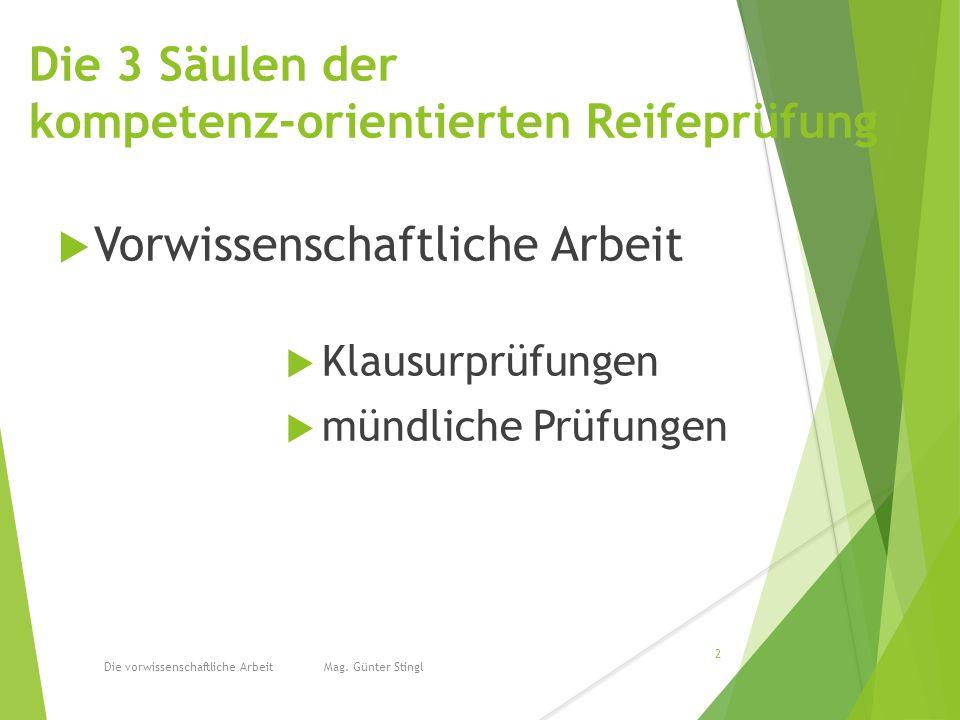 Die 3 Säulen der kompetenz-orientierten Reifeprüfung  Vorwissenschaftliche Arbeit  Klausurprüfungen  mündliche Prüfungen Die vorwissenschaftliche Arbeit Mag.