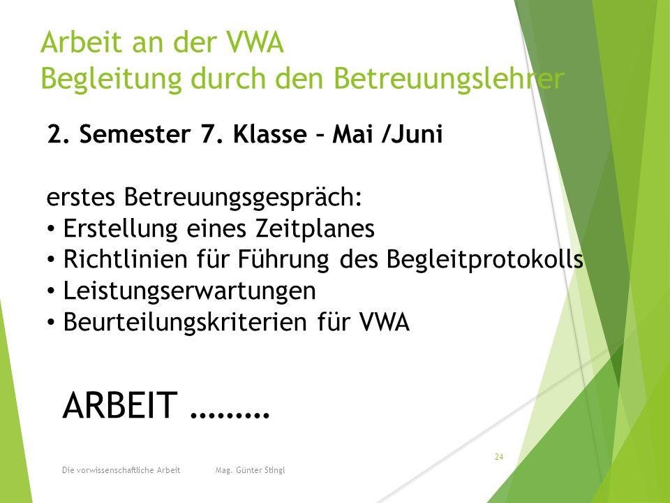 Arbeit an der VWA Begleitung durch den Betreuungslehrer Die vorwissenschaftliche Arbeit Mag.
