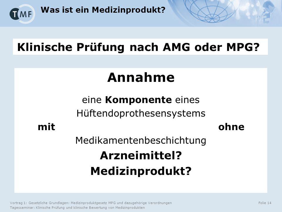 Vortrag 1: Gesetzliche Grundlagen: Medizinproduktgesetz MPG und dazugehörige Verordnungen Tagesseminar: Klinische Prüfung und klinische Bewertung von Medizinprodukten Folie 14 Klinische Prüfung nach AMG oder MPG.